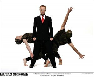 Michael Trusnovec with Sean Mahoney and Orion Duckstein in Paul Taylor's Banquet of Vultures. Photo by Tom Caravaglia.
