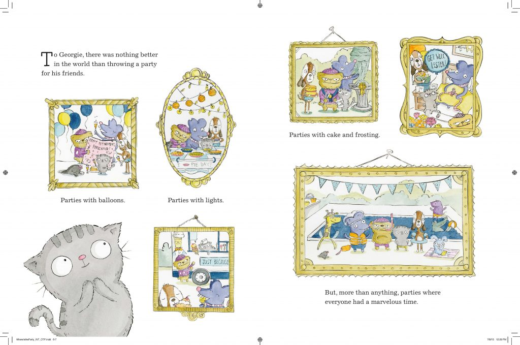 Interior artwork from Where's The Party? by Ruth Chan