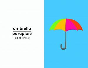 interior image of an umbrella in French from First Words: French