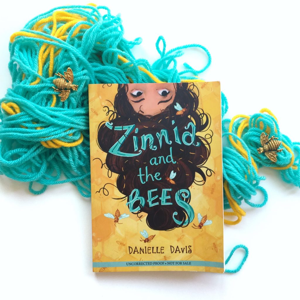 Zinnia and the Bees book with wool and some bees