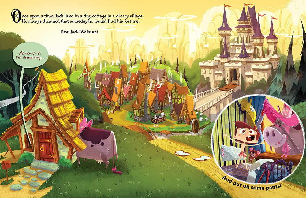 Interior spread by Edwardian Taylor from It's Not Jack and the Beanstalk by Josh Funk