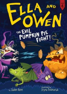 Cover art from Ella and Owen The Evil Pumpkin Pie Fight Bk 4