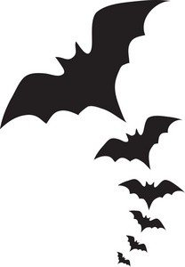 Six flying bats clipart image