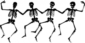Four dancing skeletons image