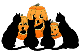 Four black cats and three pumpkins clipart image
