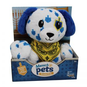 Dreidel Dog Mensch pets in box from Mensch on a Bench pkg image
