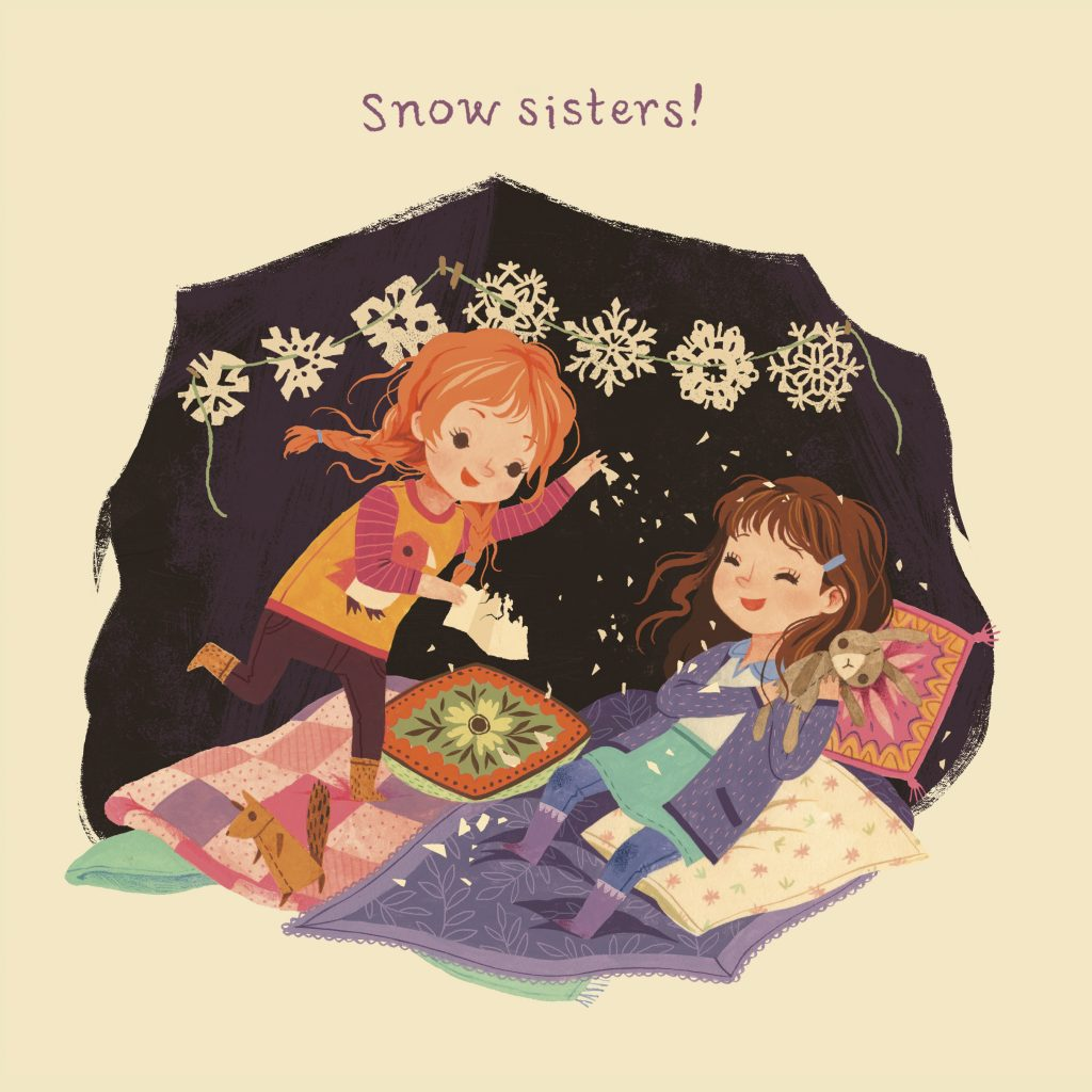 Interior spread from Snow Sisters! by Kerri Kokias illustrated by Teagan White