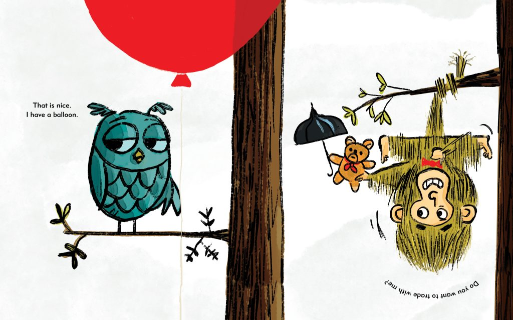 Int spread of Owl with red balloon and monkey from I Have a Balloon