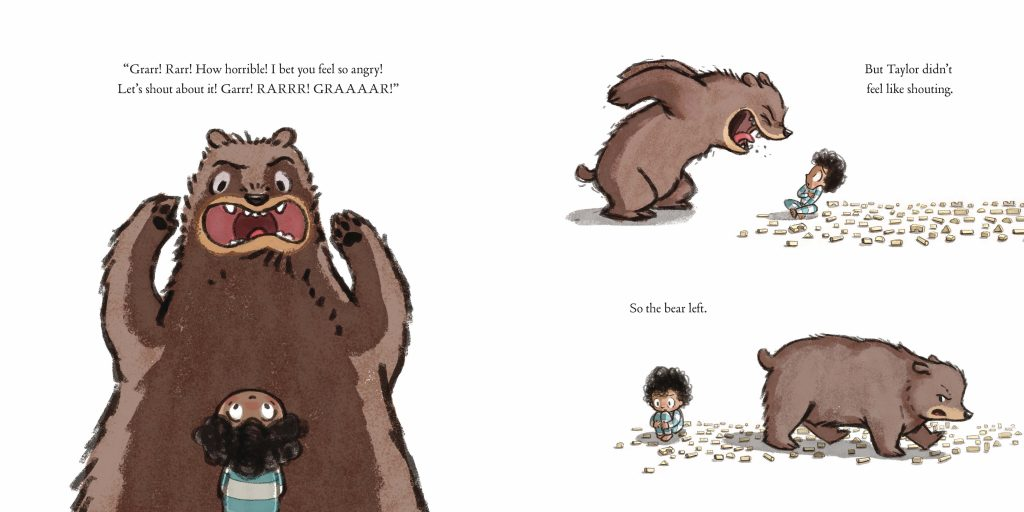 Int. artwork of bear from The Rabbit Listened by Cori Doerrfeld