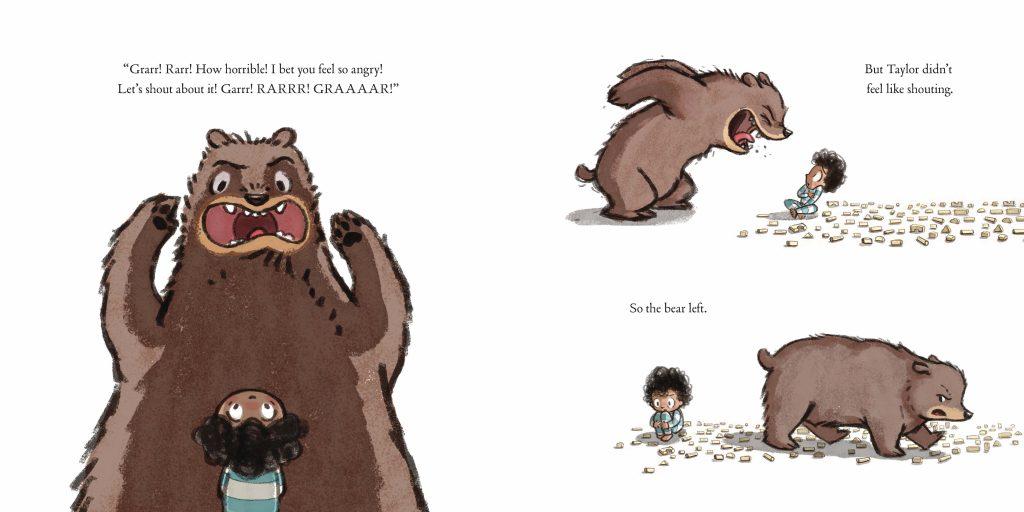 Int. artwork of bear from The Rabbit Listened by Cori Doerrfeld