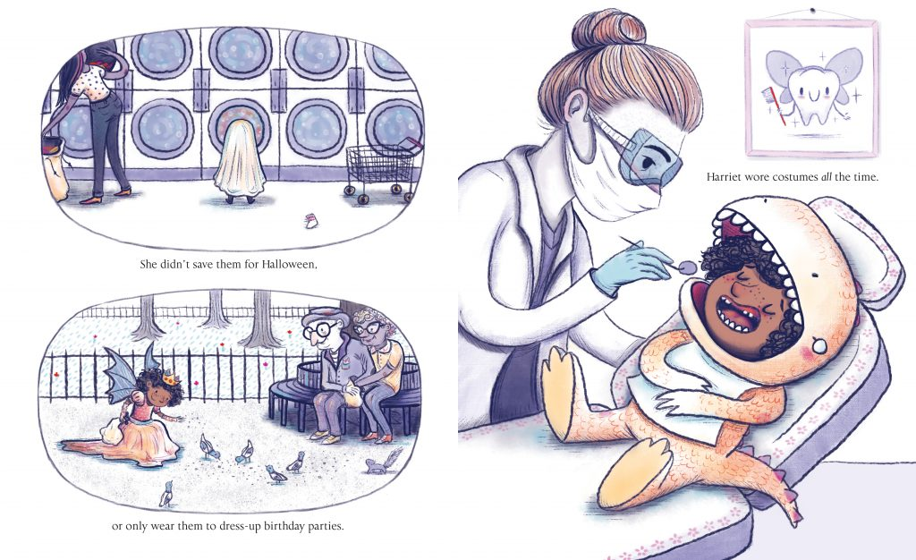 Interior artwork from Harriet Gets Carried Away by Jessie Sima courtesy of Simon & Schuster Books for Young Readers ©2018.