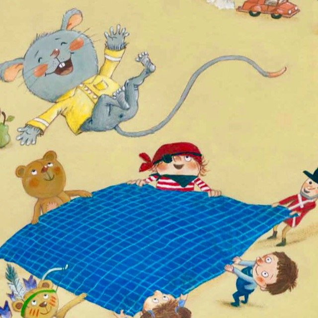 Interior illustration of Little Mouse jumping on blanket from If You Want to Fall Asleep