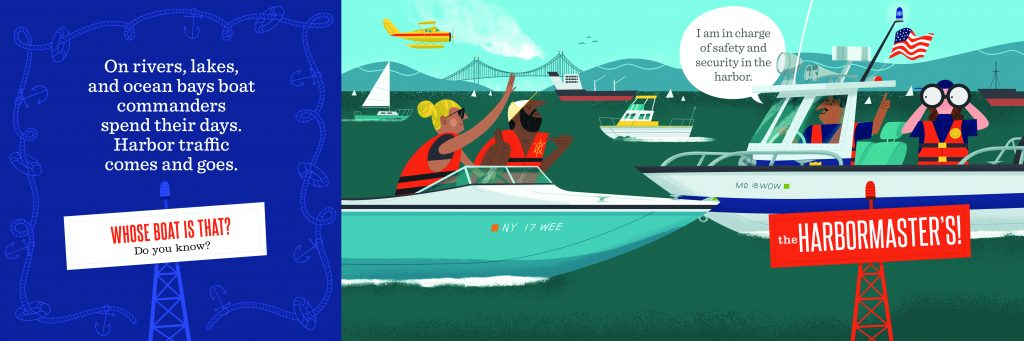 Int artwork from Whose Boat? by Toni Buzzeo with illustrations by Tom Froese