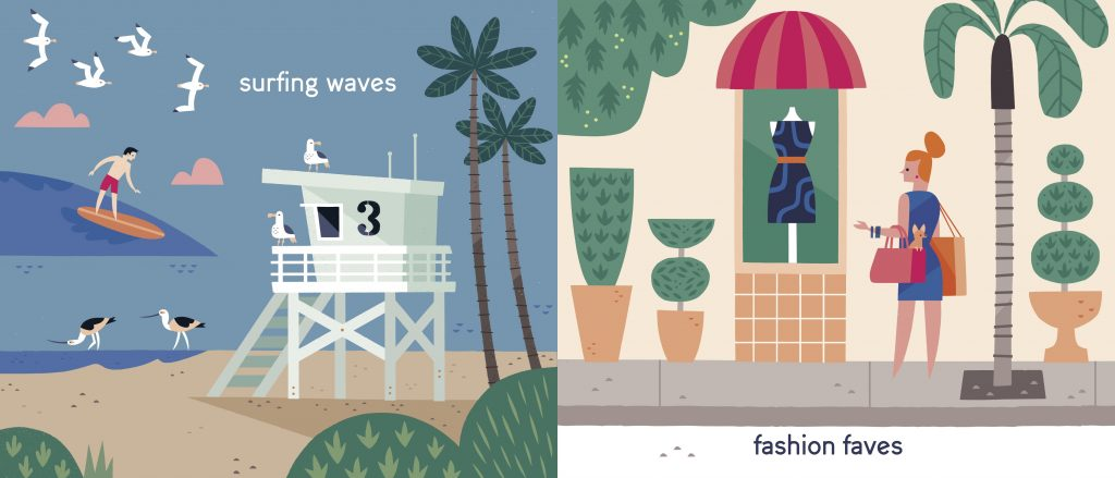 Interior illustrations waves and faves from Los Angeles Is ... by Elisa Parhad