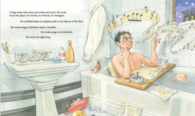 interior artwork p 21_22 from Write On, Irving Berlin! bathtub scene