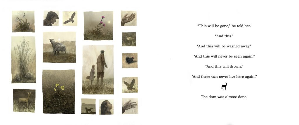 interior spread by Levi Pinfold from The Dam by David Almond