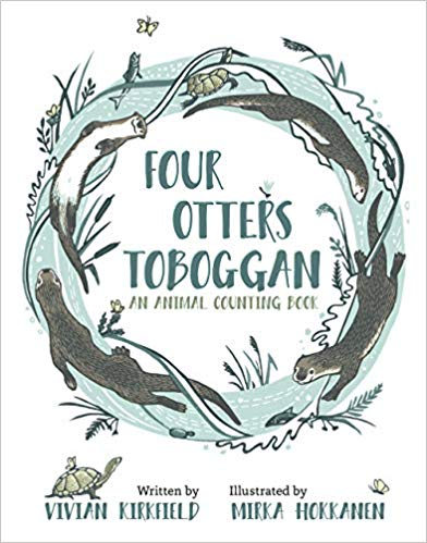 book cover woodcut illustration from Four Otters Toboggan