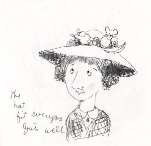 illustration of lady in hat with mice on top by Beth Spiegel