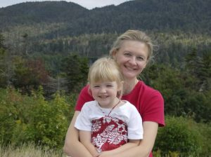 Author Cathy Ballou Mealey and child at NH White Mtns
