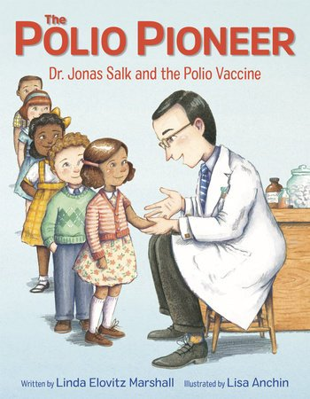 The Polio Pioneer book cover art of Jonas Salk